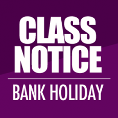 CLASS TIMETABLE – BANK HOLIDAY MONDAY