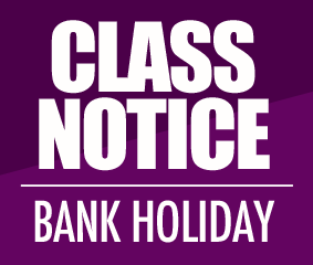 BANK HOLIDAY CLASS TIMETABLE
