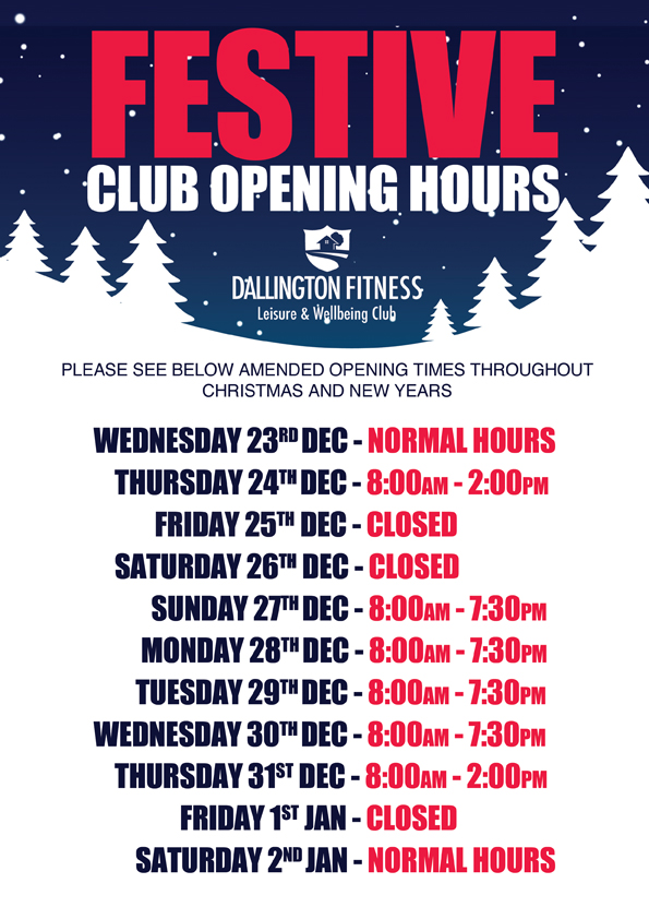 Festive club opening times dallington gym
