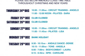 Revised Class Timetable